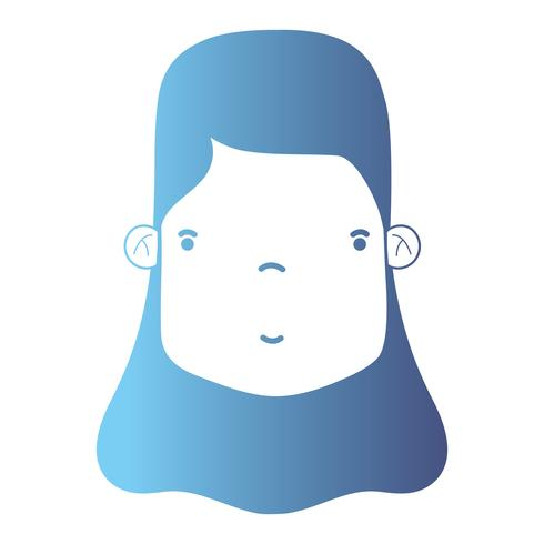 line avatar woman head with hairstyle