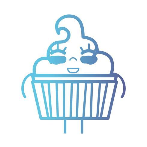 linha kawaii bonito feliz doce muffin vetor