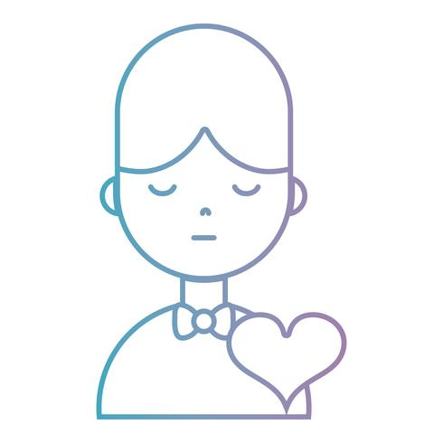 line boy with hairstyle and heart design