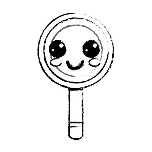 figuur kawaii schattig gelukkig vergrootglas