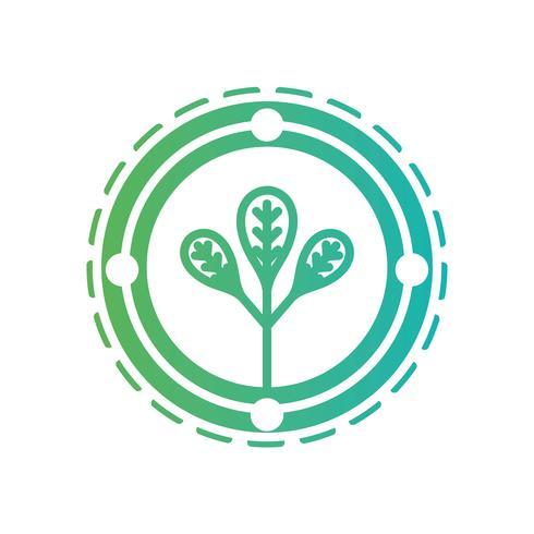 Emblema de la ecología de línea con planta interior vector