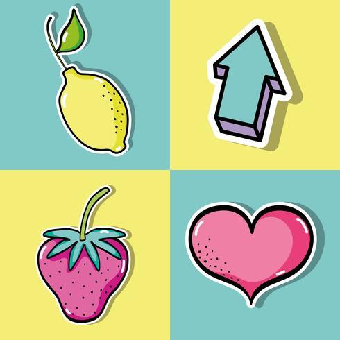 conjunto de parches tropicales de diseño de frutas. vector