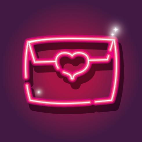 kort brev neon ikon dekoration