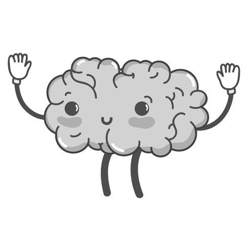 gråskala kawaii söt glad hjärna med armar och ben