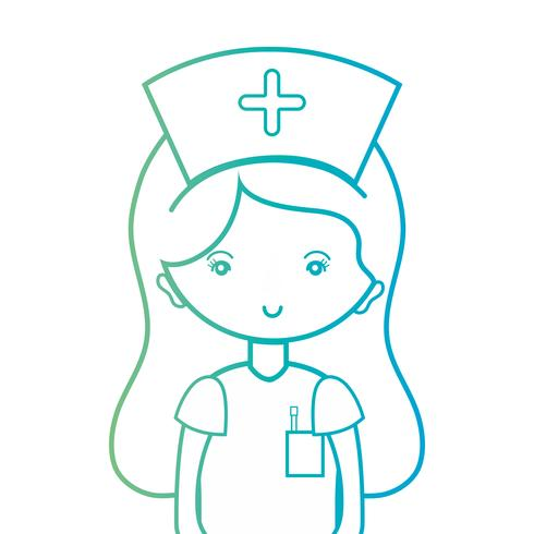 line woman nurse with uniform and hairstyle design