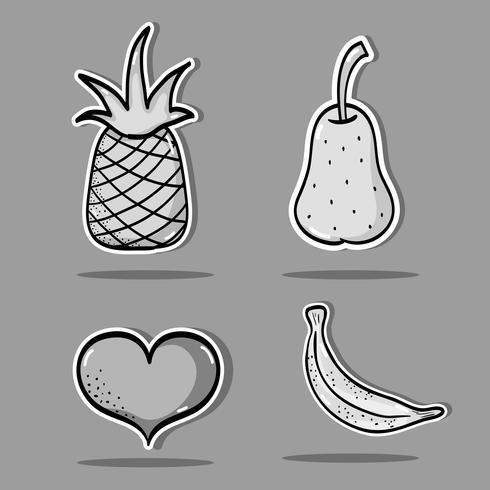 set tropical patches fruit design