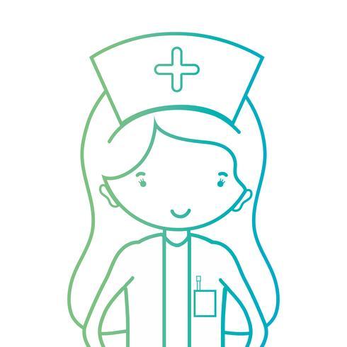 Linie Frau Krankenschwester mit Uniform und Frisur Design