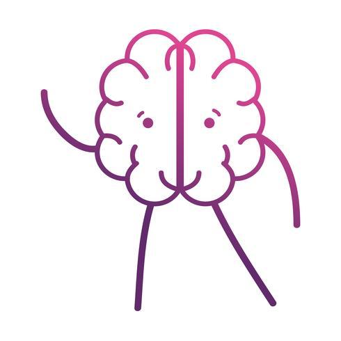 linea carina cervello kawaii con braccia e gambe