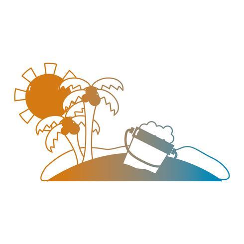 Línea verano playa y paraíso tropical. vector