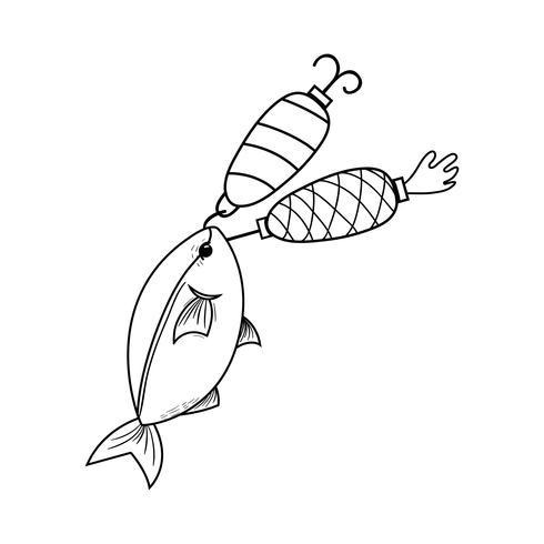 Schnur Fisch beißt Spinner Objekt, um es zu fangen vektor