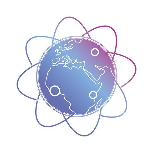 linea pianeta terra con orbite freccia