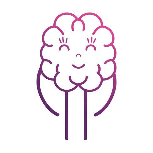línea lindo cerebro kawaii con brazos y piernas vector