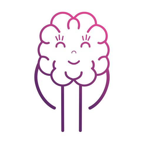 line cute brain kawaii with arms and legs