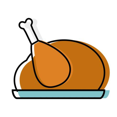 delicious chicken food roast taste vector