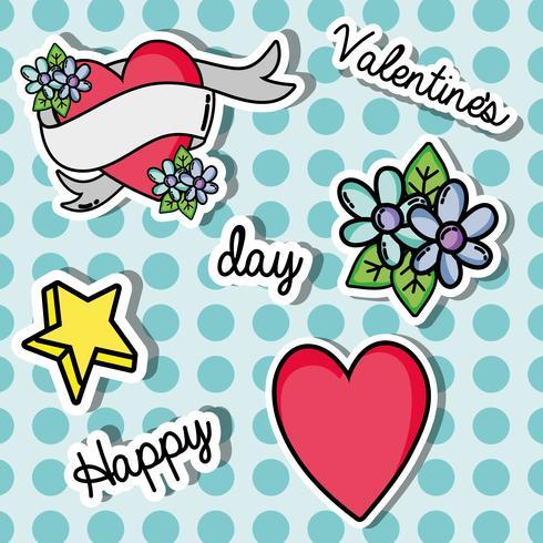 establecer el diseño de parches día de san valentín