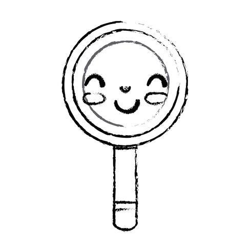figura kawaii carina lente d'ingrandimento felice