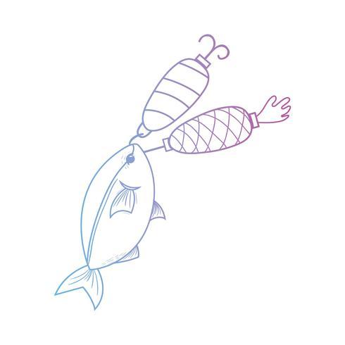 lijn vis bijten spinner object om het te vangen