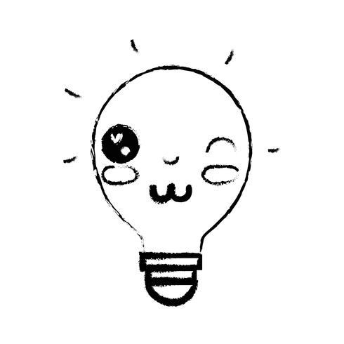 idea kawaii linda bombilla divertida vector