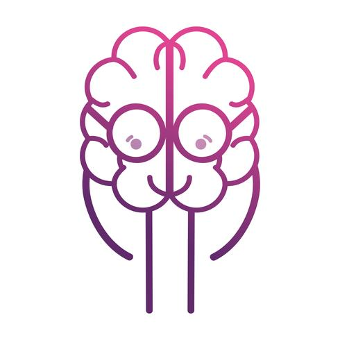 lijn schattige hersenen kawaii met een bril