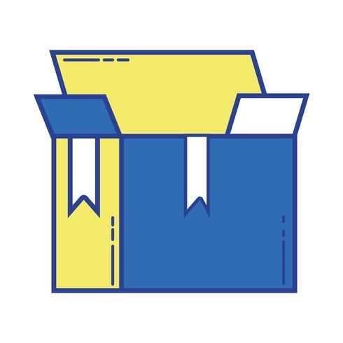 caja paquete objeto abierto diseño vector