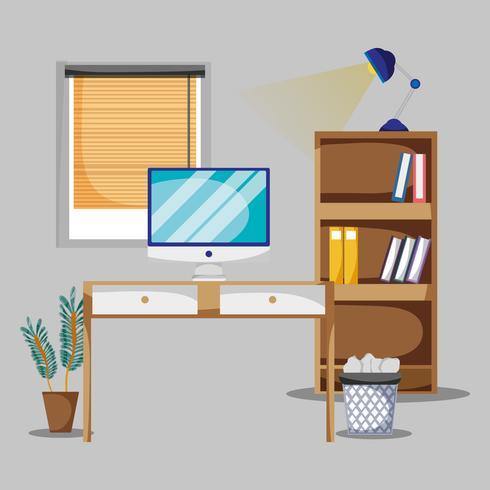bureau avec bureau et accessoires plat pour travailler vecteur
