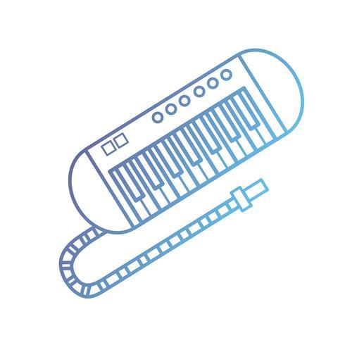 Línea de instrumento de música de piano a la armonía de la melodía. vector