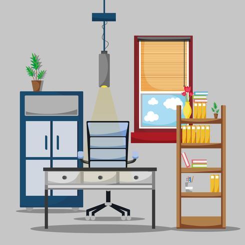 kontor med skrivbord och tillbehör platt för att arbeta