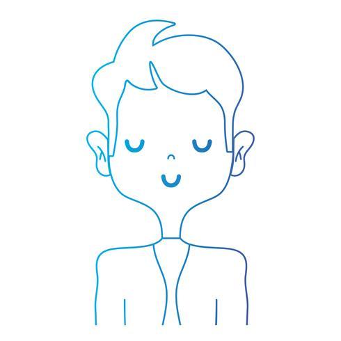 Línea tierna hombre con ropa elegante y diseño de peinado. vector