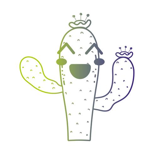 line cute happy cactus plant