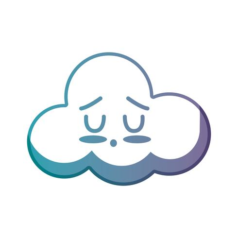 línea kawaii lindo tierno nube clima vector