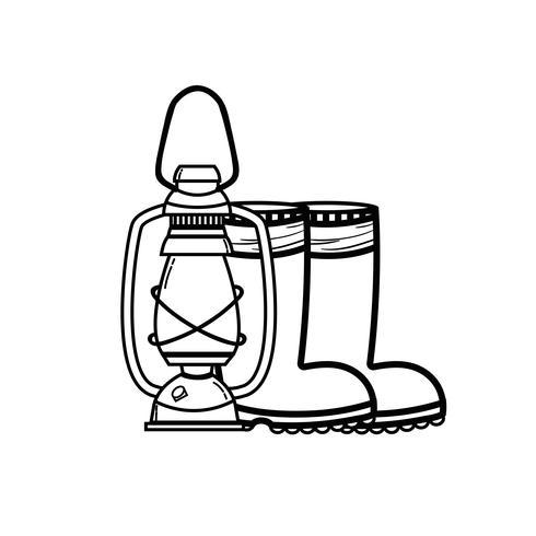 Schnur Angelwerkzeug alte Lampe Hand und Stiefel