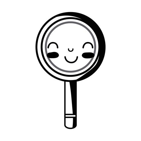contour kawaii cute happy magnifying glass