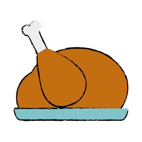 Doodle delicioso pollo comida sabor asado vector