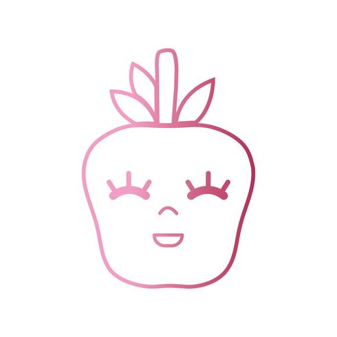 linha kawaii bonito feliz maçã fruta