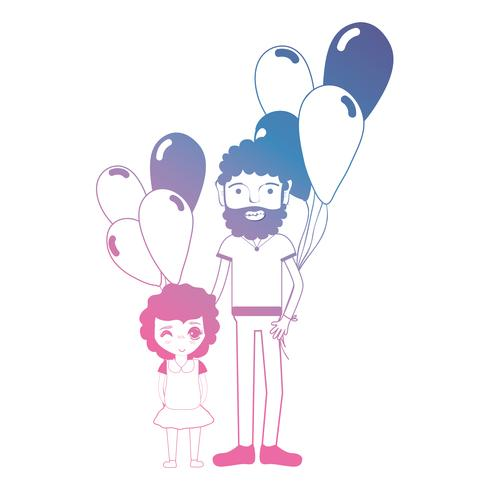 line father and dauther together with balloons design