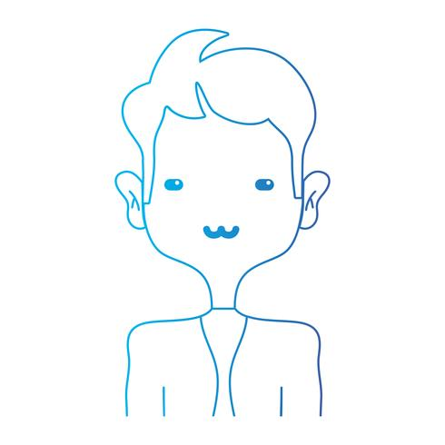 line tender man with elegant clothes and hairstyle design