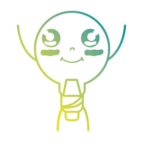línea kawaii lindo feliz bombilla energía