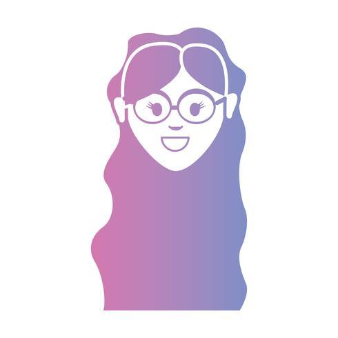 línea avatar mujer cabeza con peinado vector