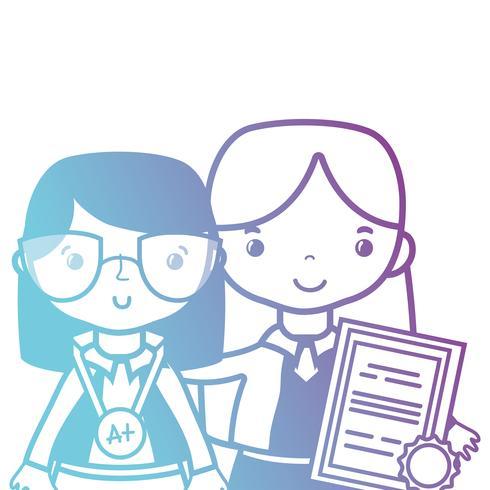 linjelärare med elev till klassundervisning