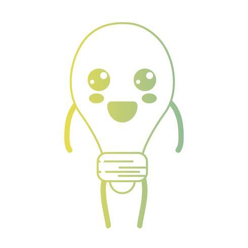 línea kawaii lindo feliz bombilla energía vector