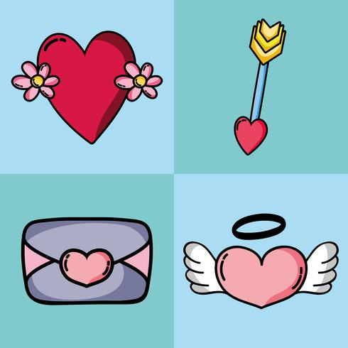 set valentines day patches design