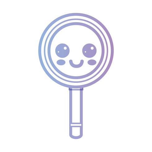 line kawaii cute happy magnifying glass