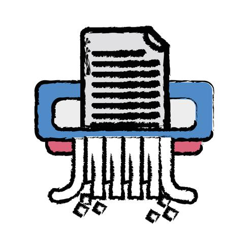 diseño de la máquina trituradora de papel de oficina vector