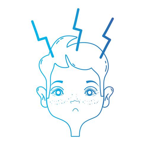 line man with headache sickness to stress problem vector