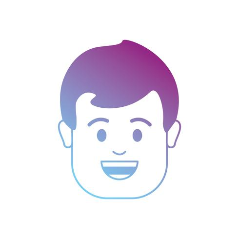 line avatar man head with hairstyle design