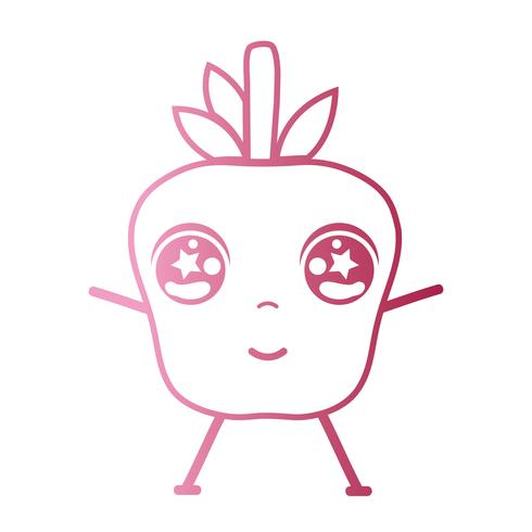 line kawaii cute happy apple fruit vector