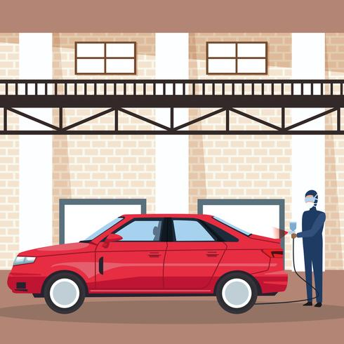 Worker on car factory vector