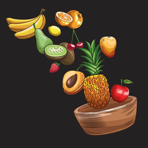 hand drawn fruits vector