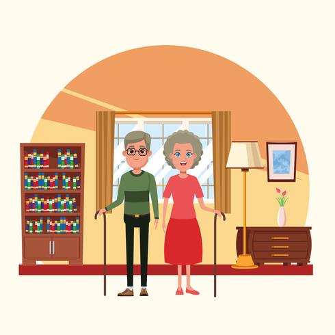 Familia dentro de casa dibujos animados de paisaje vector