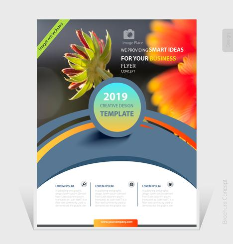 Modelo de folheto de negócios abstratos 2019 design de capa - ilustração vetorial